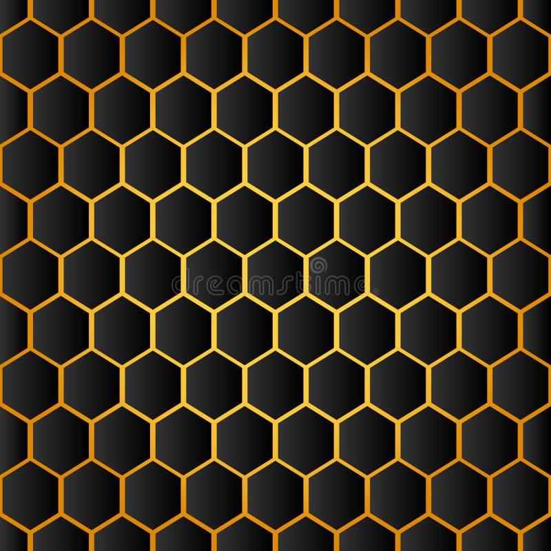 Honeycomb tła tekstura od pszczoła roju Wektorowy sze?ciok?ta wz?r royalty ilustracja