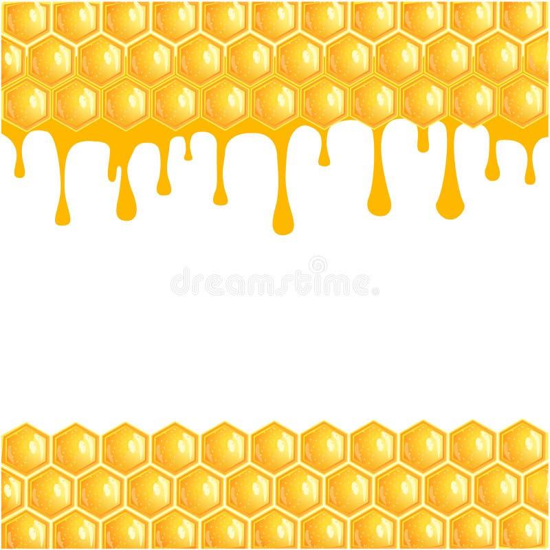 Honeycomb tło z bieżącym miodem - wektor royalty ilustracja