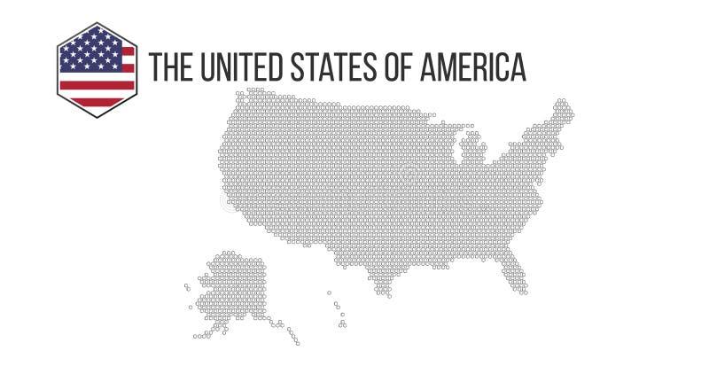 Honeycomb usa heksagonalna mapa Wektorowy halftone geograficzny plan na białym tle Abstrakcjonistyczny usa mapy skład łączy ilustracji