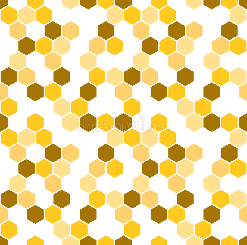 Honeycomb vector background. Seamless pattern with colored hexagons. Geometric texture, ornament of brown, white and royalty free illustration
