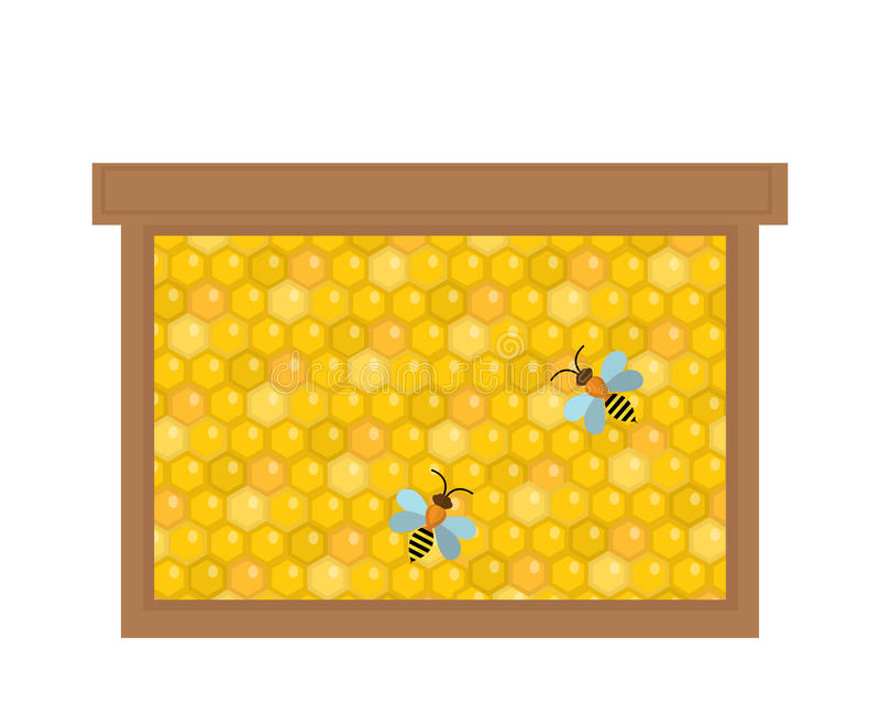 Honeycomb in wooden frame icon, flat style. Isolated on white background. Vector illustration, clip-art. stock illustration