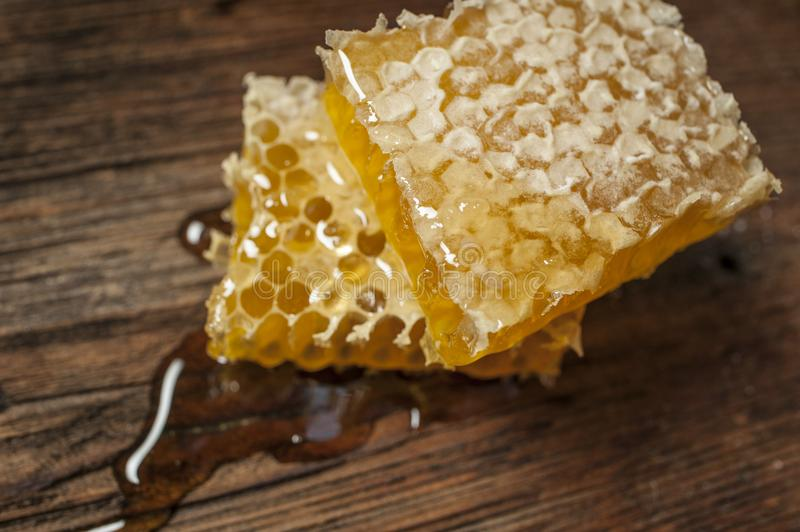 Fresh honey close up. Honeycomb on a wooden table close up stock photo