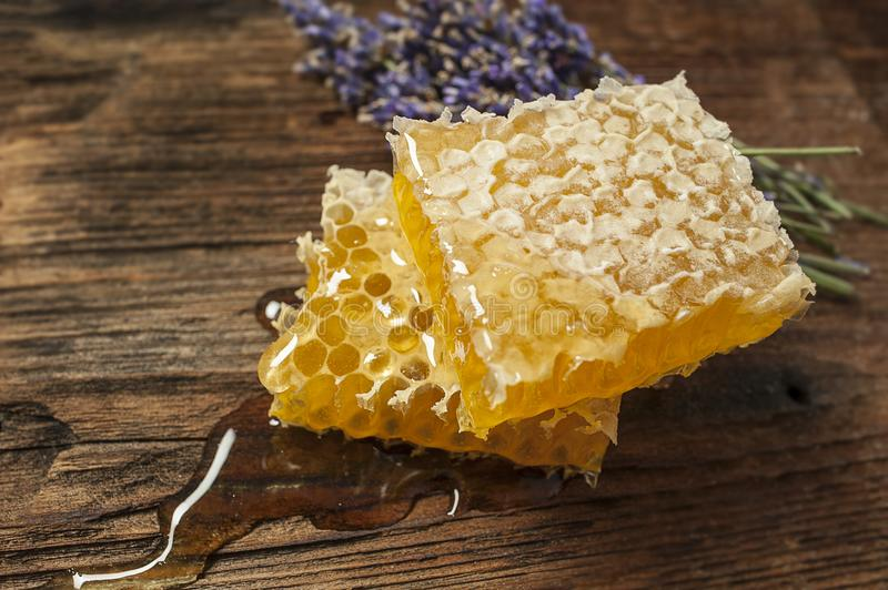 Honeycomb on a wooden table. Close up stock images