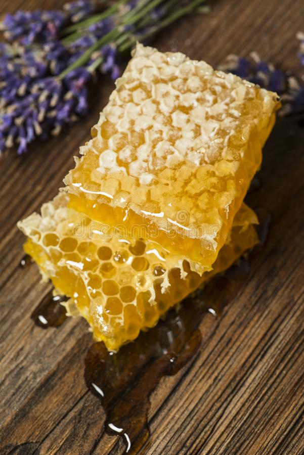 Honeycomb on a wooden table. Close up stock photography