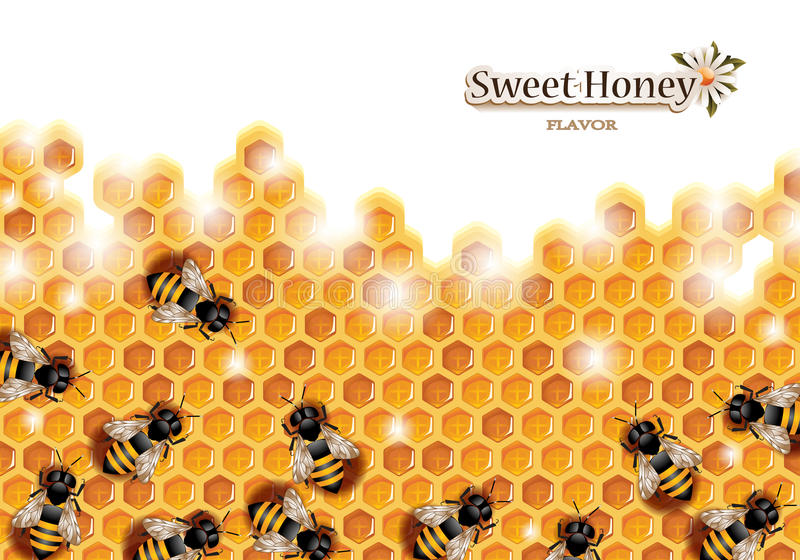 Honeycomb with Working Bees. Vector honey background with bees working on a honeycomb stock illustration