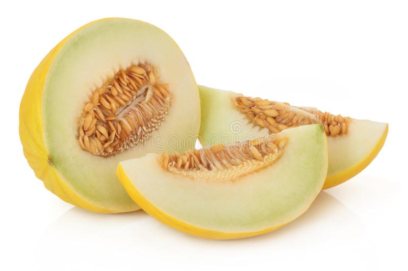 Honeydew Melon. Isolated over white background with reflection royalty free stock images