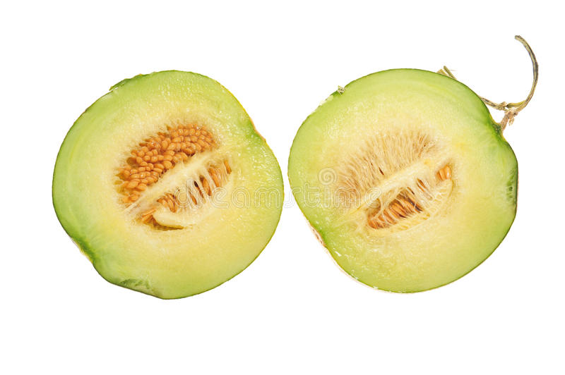 Honeydew Melon. Sectional View Of A Cut Honeydew Melon royalty free stock image