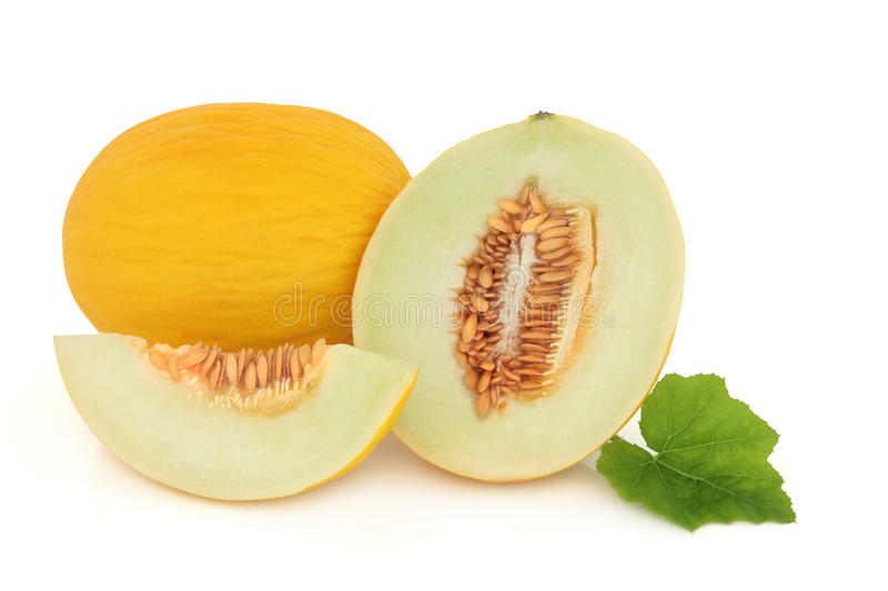 Honeydew Melon. Whole and sliced with leaf sprig over white background royalty free stock image