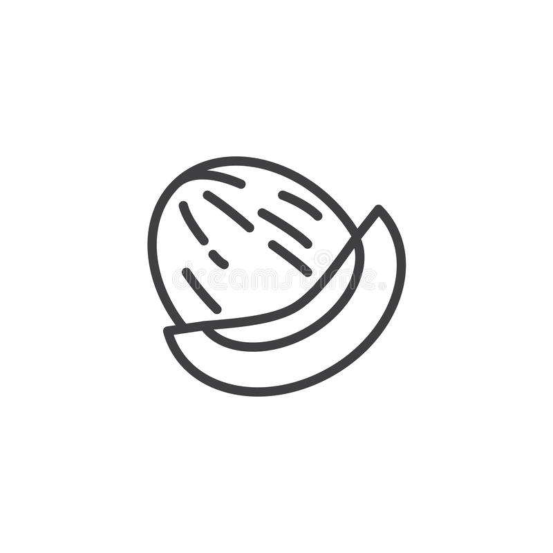 Honeydew melon line icon. Linear style sign for mobile concept and web design. Whole and slice of japanese melons outline vector icon. Symbol, logo vector illustration
