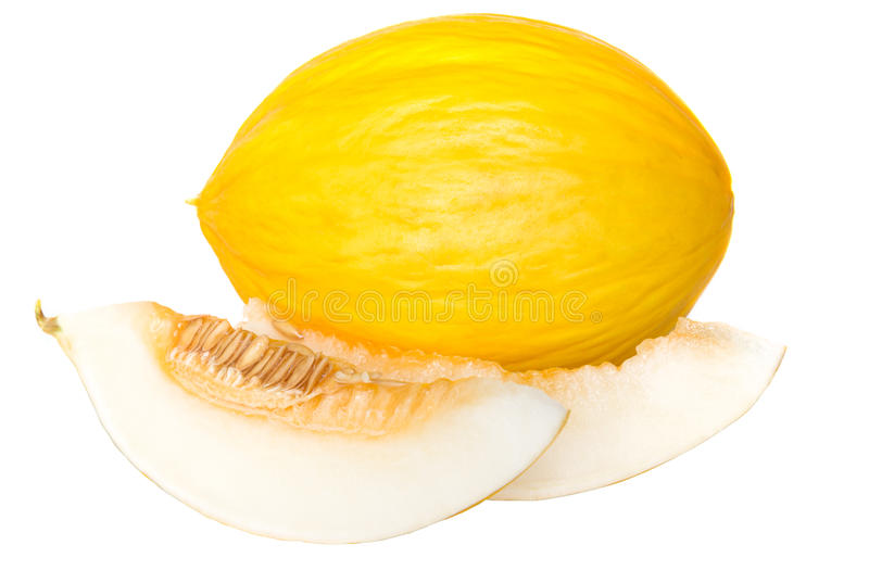 Honeydew. Yellow melon isolated on white stock photography