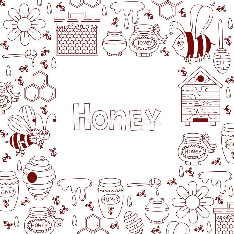 Honey frame doodle. Honey bee doodle line square decorative vector frame stock illustration
