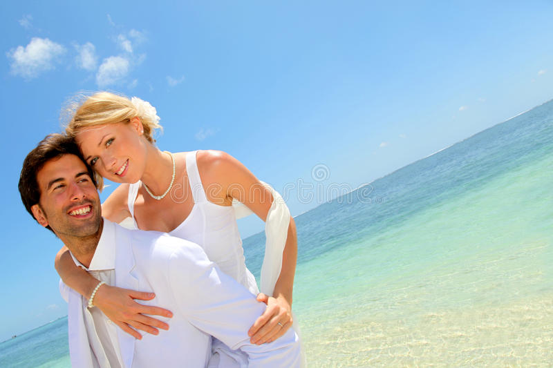 Honeymoon on the beach stock photos