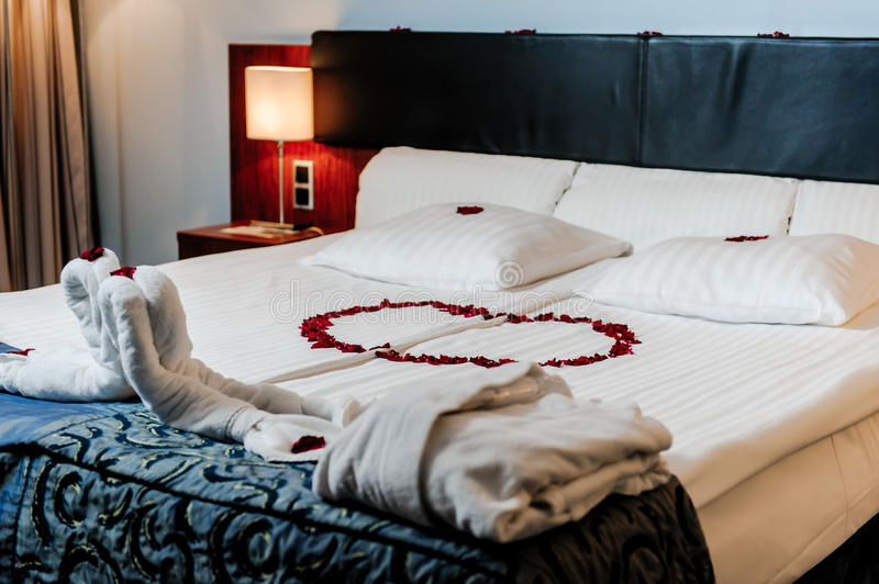 Honeymoon bed decoration stock photo image of marriage for Bed decoration with rose petals