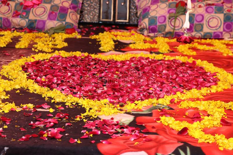 Honeymoon bed, suhagrat stock images