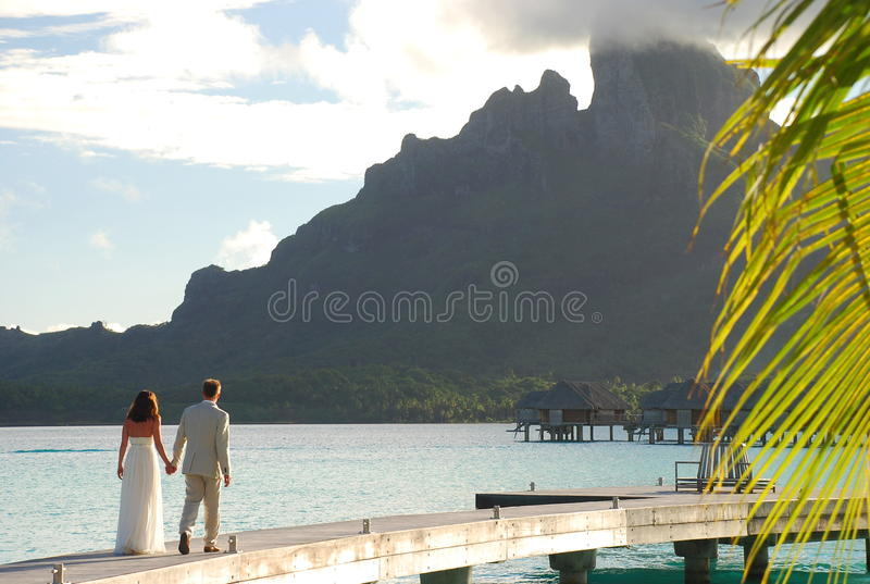 honeymoon Bora Bora, Polinésia francesa foto de stock