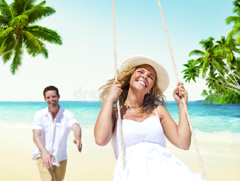 Honeymoon Couple Summer Beach Dating Concept.  stock images