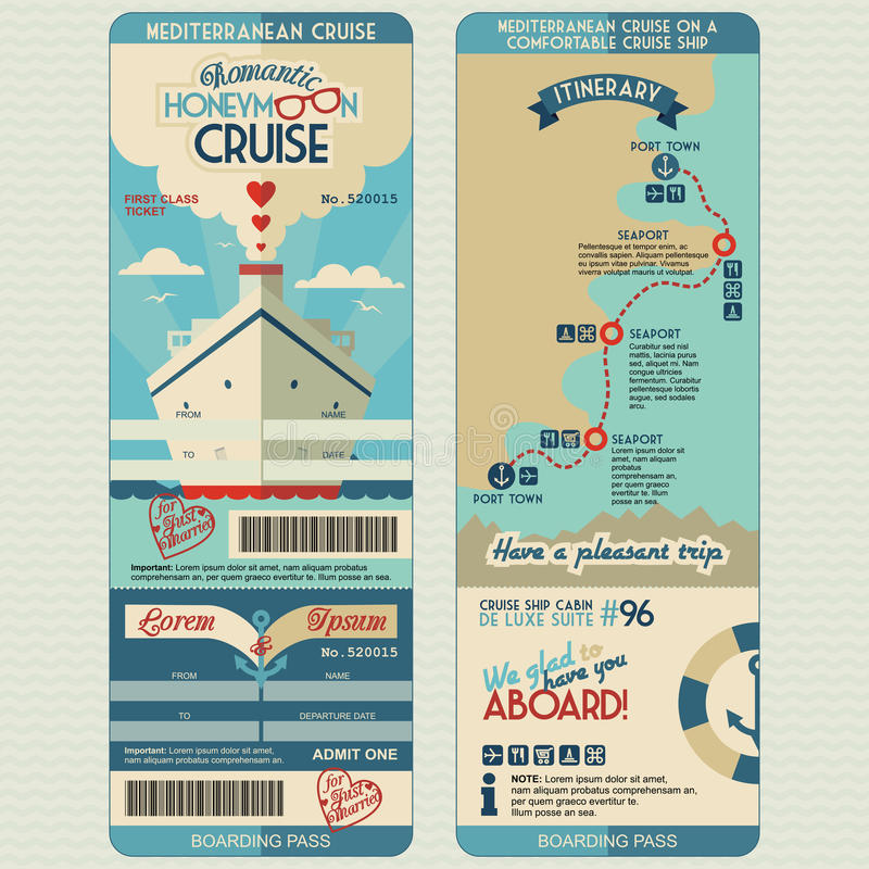 Honeymoon cruise boarding pass vector illustration