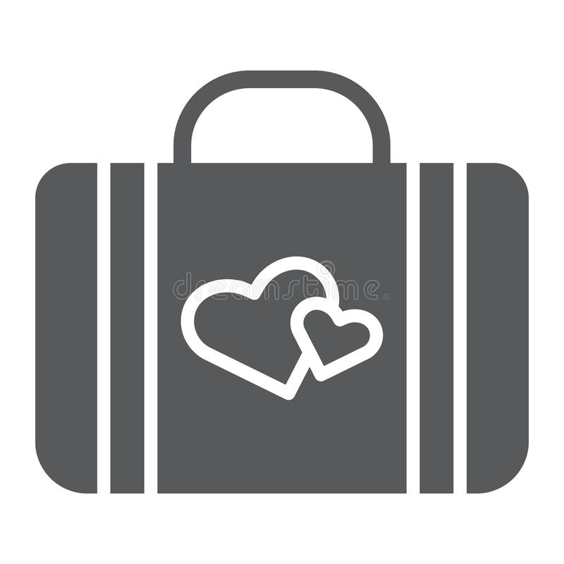 Honeymoon glyph icon, briefcase and love, baggage with hearts sign, vector graphics, a solid pattern on a white vector illustration