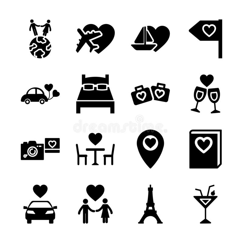 Honeymoon solid icons. Vector design stock illustration
