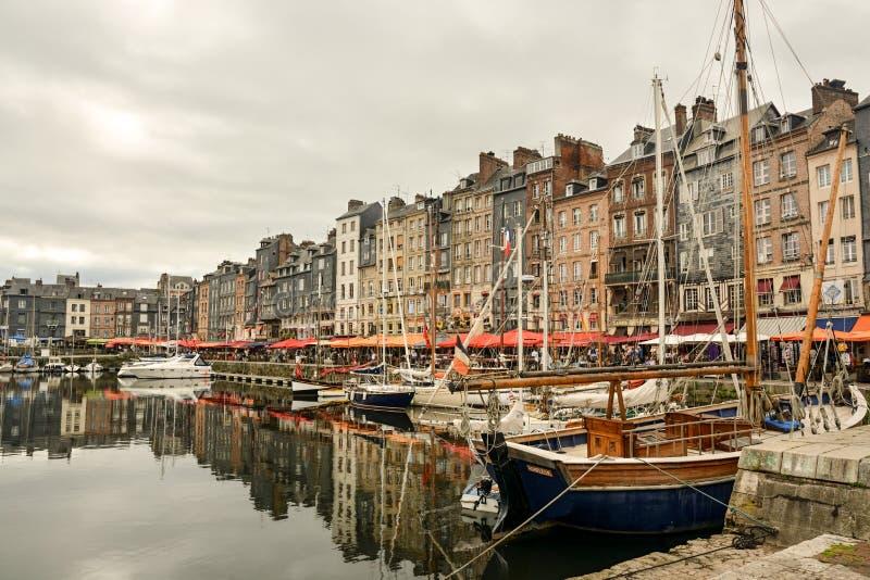 honfleur гавани Франции старое стоковое фото rf