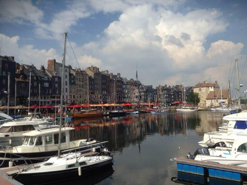 Honfleur Harbour in France stock photos