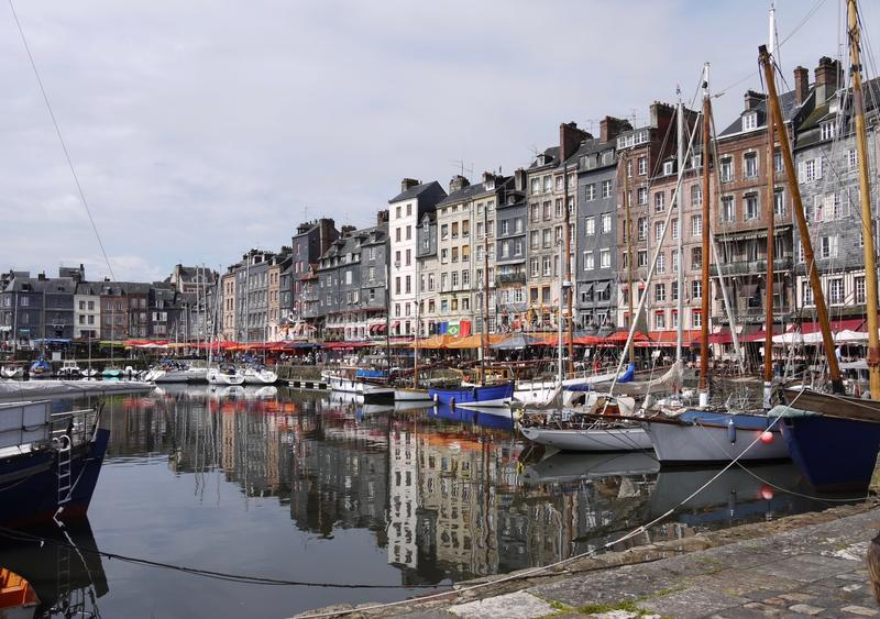 Honfleur harbour in Normandy in France. stock photo