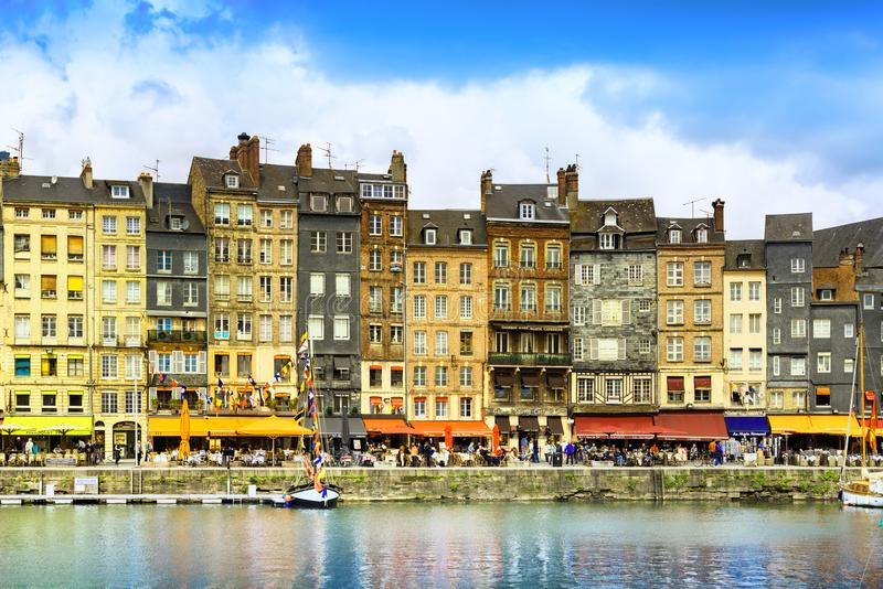 HONFLEUR, NORMANDY / FRANCE - MAY 23, 2013: The picturesque old royalty free stock images
