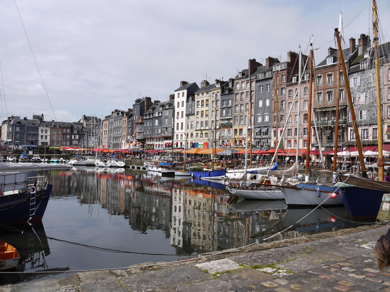 Honfleur, Normandy, France. Honfleur in Normandy, France on the Seine river estuary. 18th Century town houses and harbour royalty free stock photo