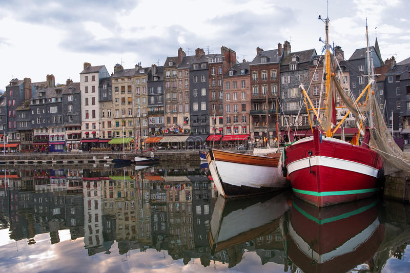 Honfleur Normandy, France summer evening harbor view stock photography