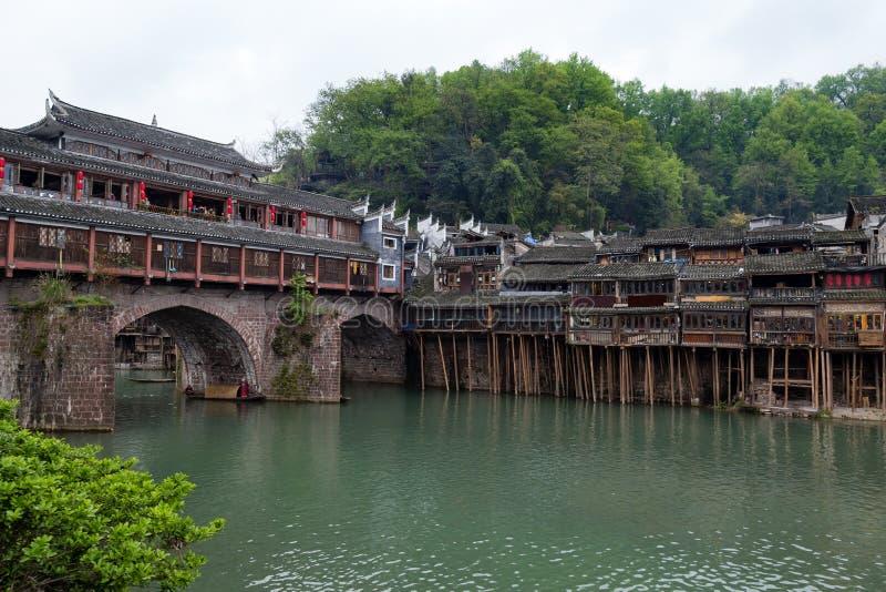 Hong Bridge dans la ville antique de Fenghuang, province de Hunan, Chine photo libre de droits