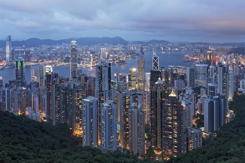 Hong Kong Island and Victoria Harbor as viewed from The Peak royalty free stock image