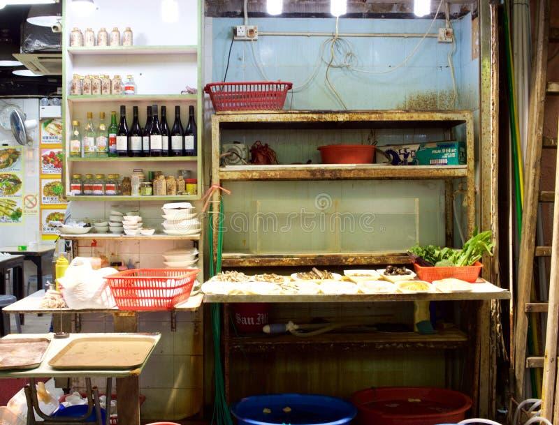 Hong Kong: Área de servicio del restaurante en mercado de la noche de la calle del templo fotografía de archivo libre de regalías