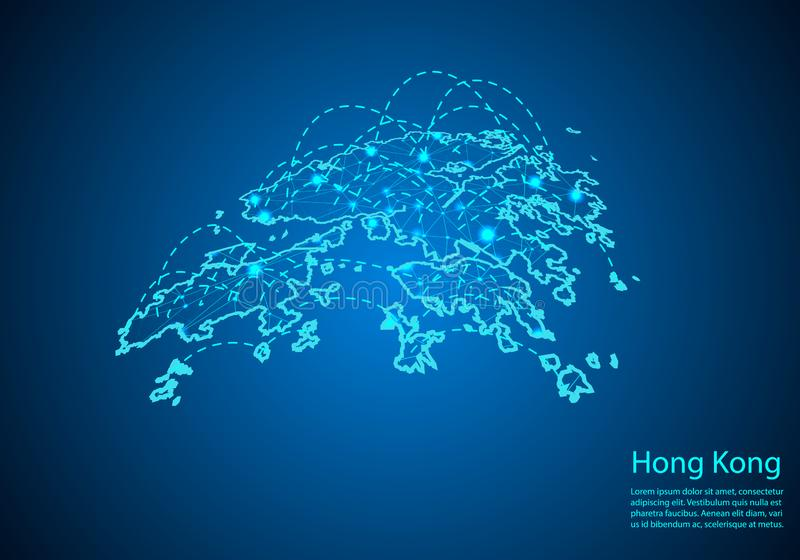 Hong Kong översikt med knutpunkter som anknytas av linjer begrepp av global comm royaltyfri illustrationer