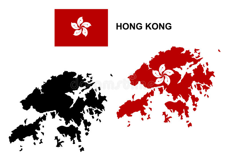 Hong Kong översiktsvektor, Hong Kong flaggavektor, isolerade Hong Kong vektor illustrationer