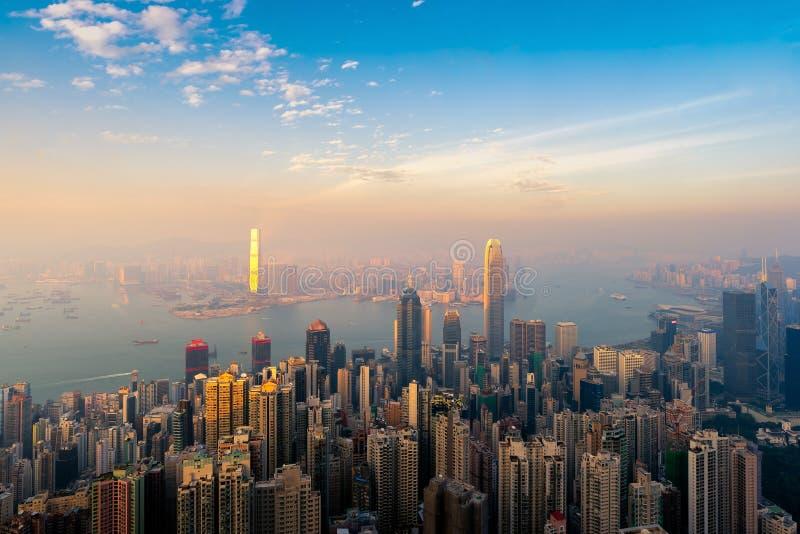 Hong kong śródmieście sławny pejzażu miejskiego widok fotografia royalty free