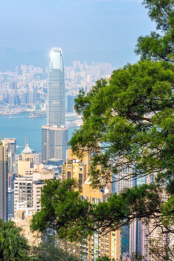 Hong kong śródmieście sławny pejzażu miejskiego widok obraz royalty free