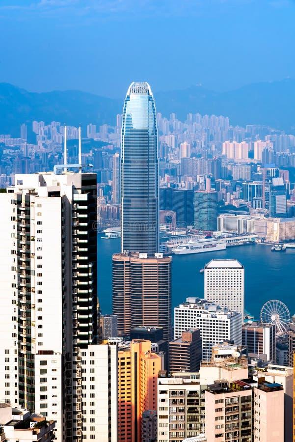 Hong kong śródmieście sławny pejzażu miejskiego widok zdjęcie stock