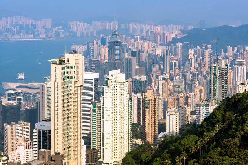 Hong kong śródmieście sławny pejzażu miejskiego widok obraz stock