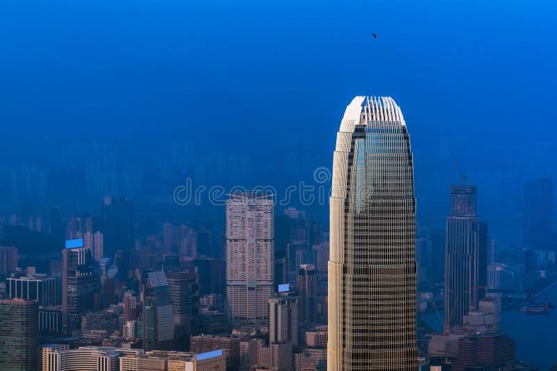 Hong kong śródmieście sławny pejzażu miejskiego widok od Wiktoria szczytu zdjęcia royalty free