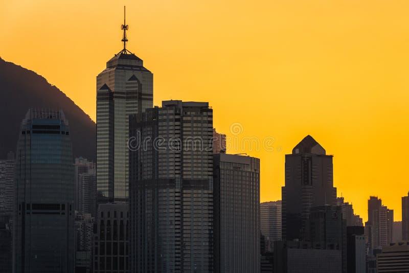 Hong kong śródmieście sławny pejzażu miejskiego widok od Wiktoria szczytu zdjęcie royalty free