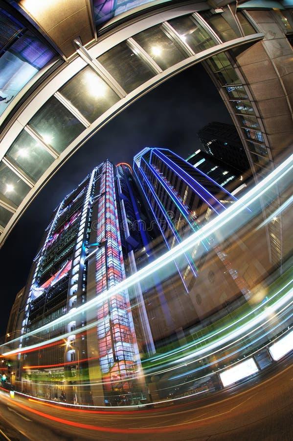 hong kong światła noc sceny ruch drogowy fotografia stock