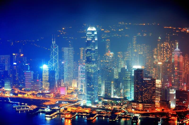 Hong Kong Aerial Night Royalty Free Stock Image