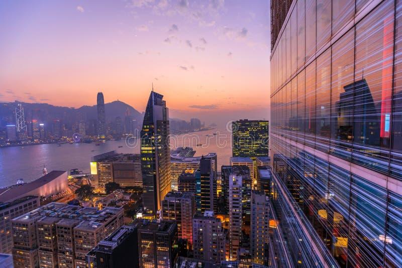 Hong Kong aerial by night royalty free stock photo