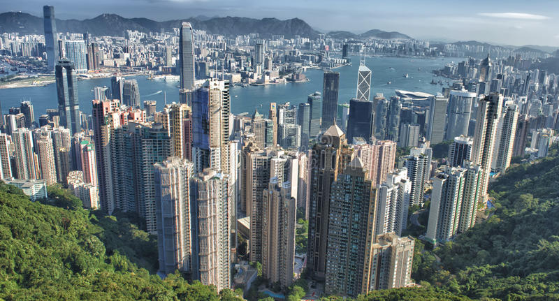Hong Kong Aerial View fotografia de stock royalty free