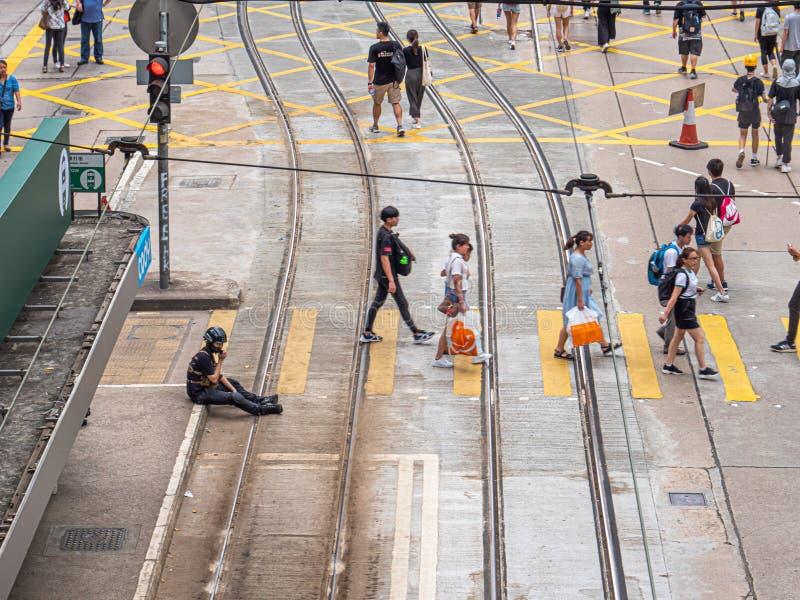 Hong Kong anti-extradição conta protestadores 28 DE JULHO DE 2019 imagem de stock