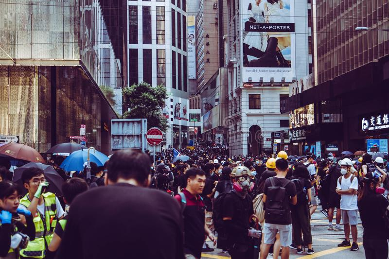 Hong Kong Protests occuping a street royalty free stock photo