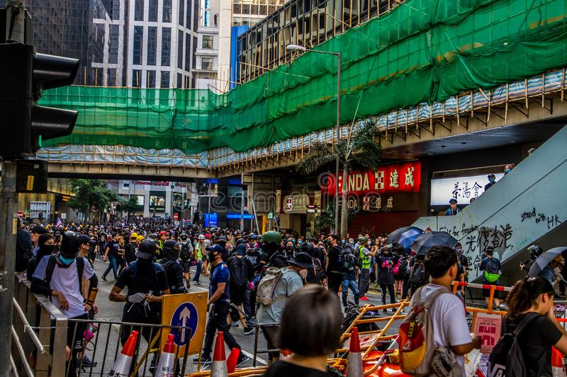 Hong Kong Protests occuping a street stock photography
