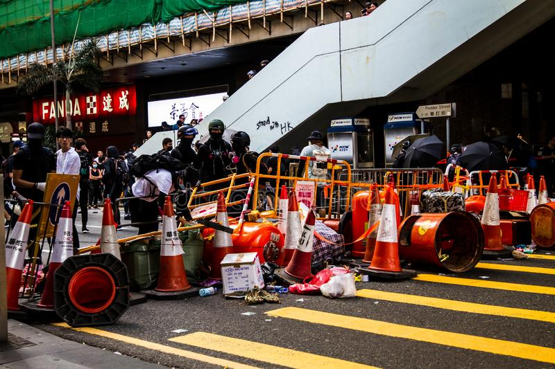 Hong Kong Protests occuping a street stock images