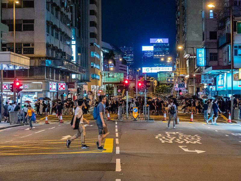 Hong Kong-antiauslieferungsrechnungsprotestierender AM 28. JULI 2019 stockfoto