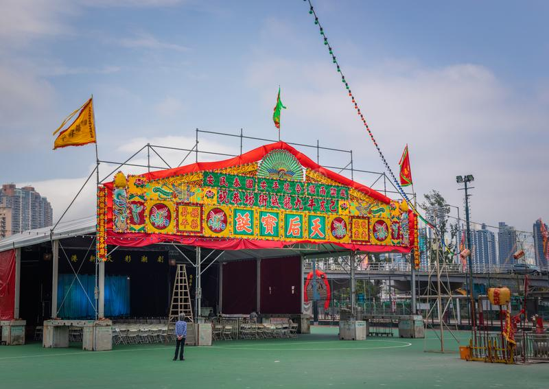Hong Kong - 28 apr 2019: temporary theatre structures of traditional chinese opera. The opera an annual event for worshiping ghost. Kowloon, Hong Kong royalty free stock images